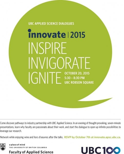 INNOVATE 2015: UBC Applied Science Dialogues at UBC Robson Square