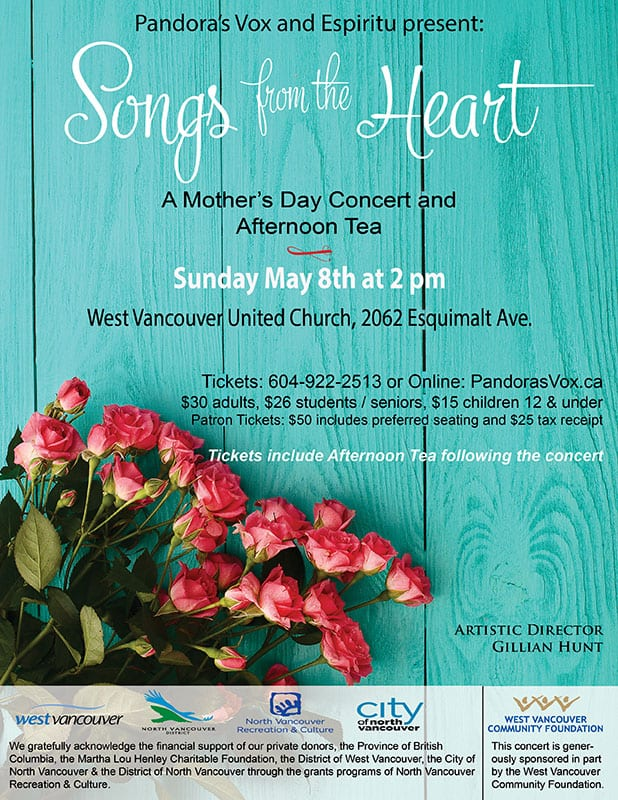"Pandora's Vox & Espiritu Vocal Ensembles perform ""Songs from the Heart"" at the West Vancouver United Church"