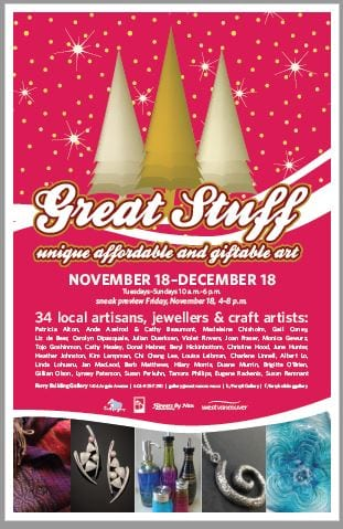 Great Stuff – Holiday Exhibition and Gift Sale at the Ferry Building Gallery West Vancouver