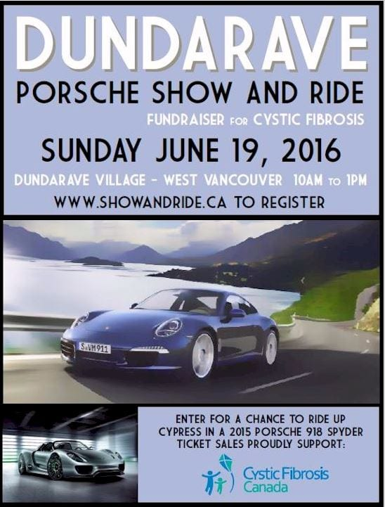 Dundarave Porsche Show and Ride for Cystic Fibrosis! in West Vancouver