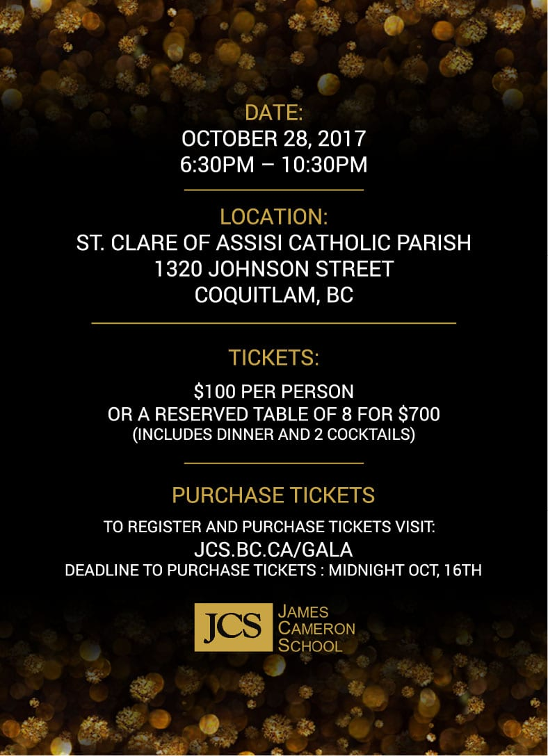 James Cameron School Gala at St. Clare of Assisi Catholic Parish Coquitlam