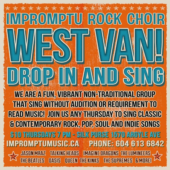 Drop In Rock Choir at the The Silk Purse Arts Centre West Vancouver