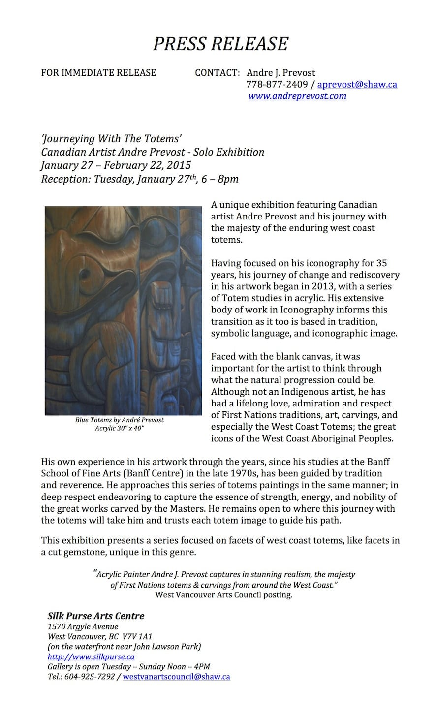 Journeying With The Totems Solo Exhibition at the Silk Purse Arts Centre