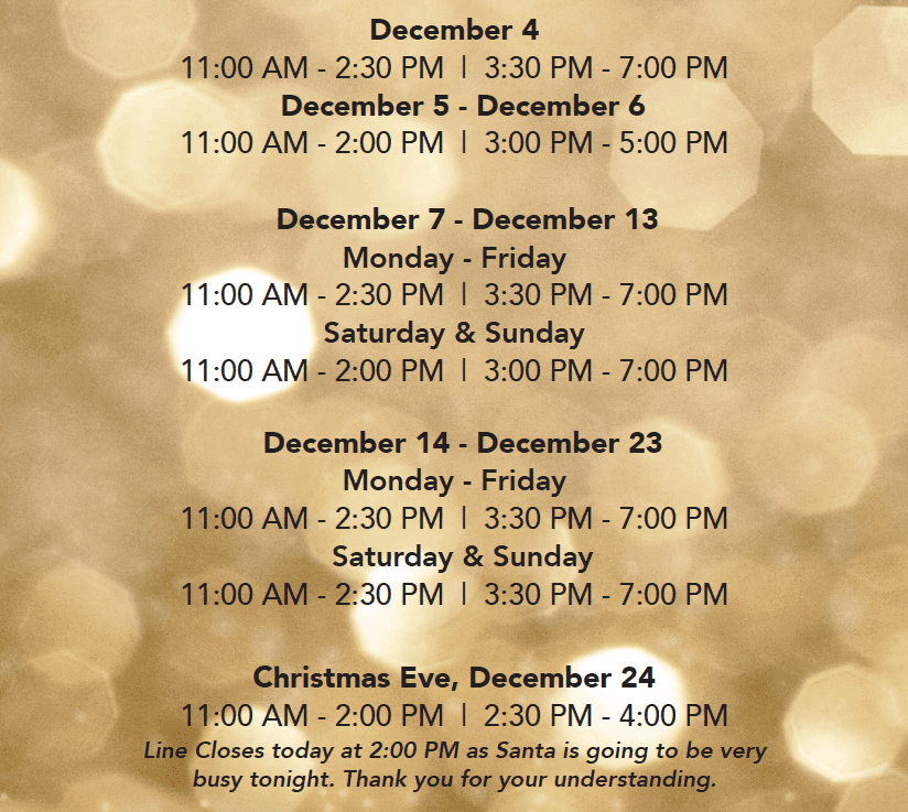 Santa Hours at the Park Royal Shopping Centre West Vancouver