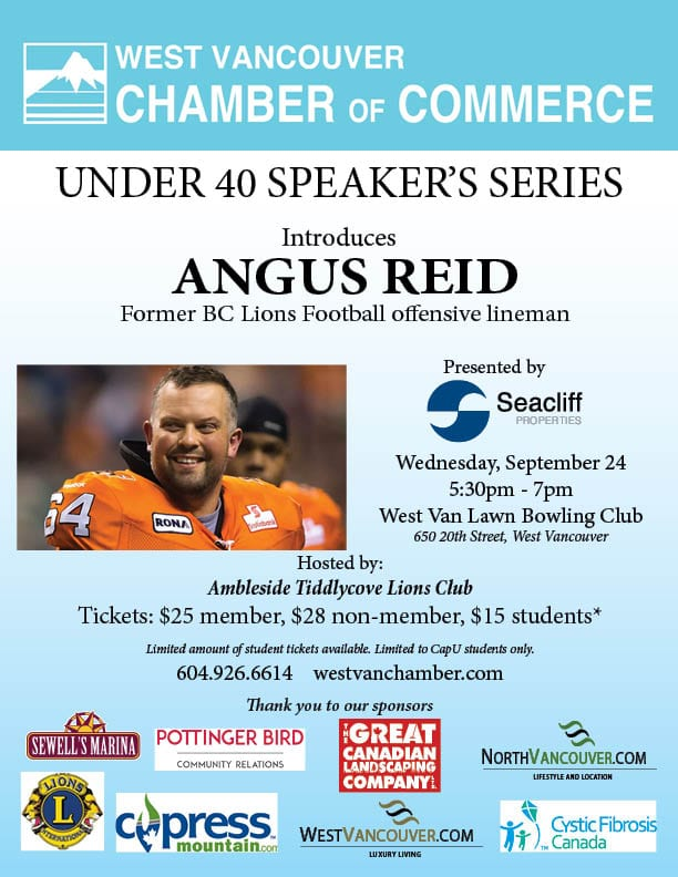 U40 – Speakers Series-Meet Angus Reid, Former BC Lions Football Offensive Lineman at the West Vancouver Lawn Bowling Club