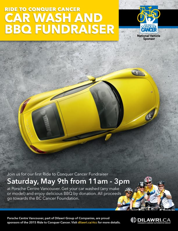 Ride to Conquer Cancer Car Wash and BBQ Fundraiser at the Porsche Centre Vancouver