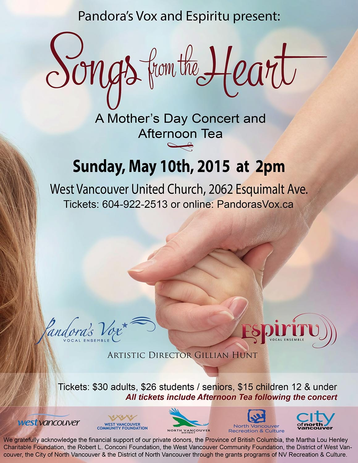 "Pandora's Vox & Espiritu Vocal Ensembles – ""Songs from the Heart"" at the West Vancouver United Church"