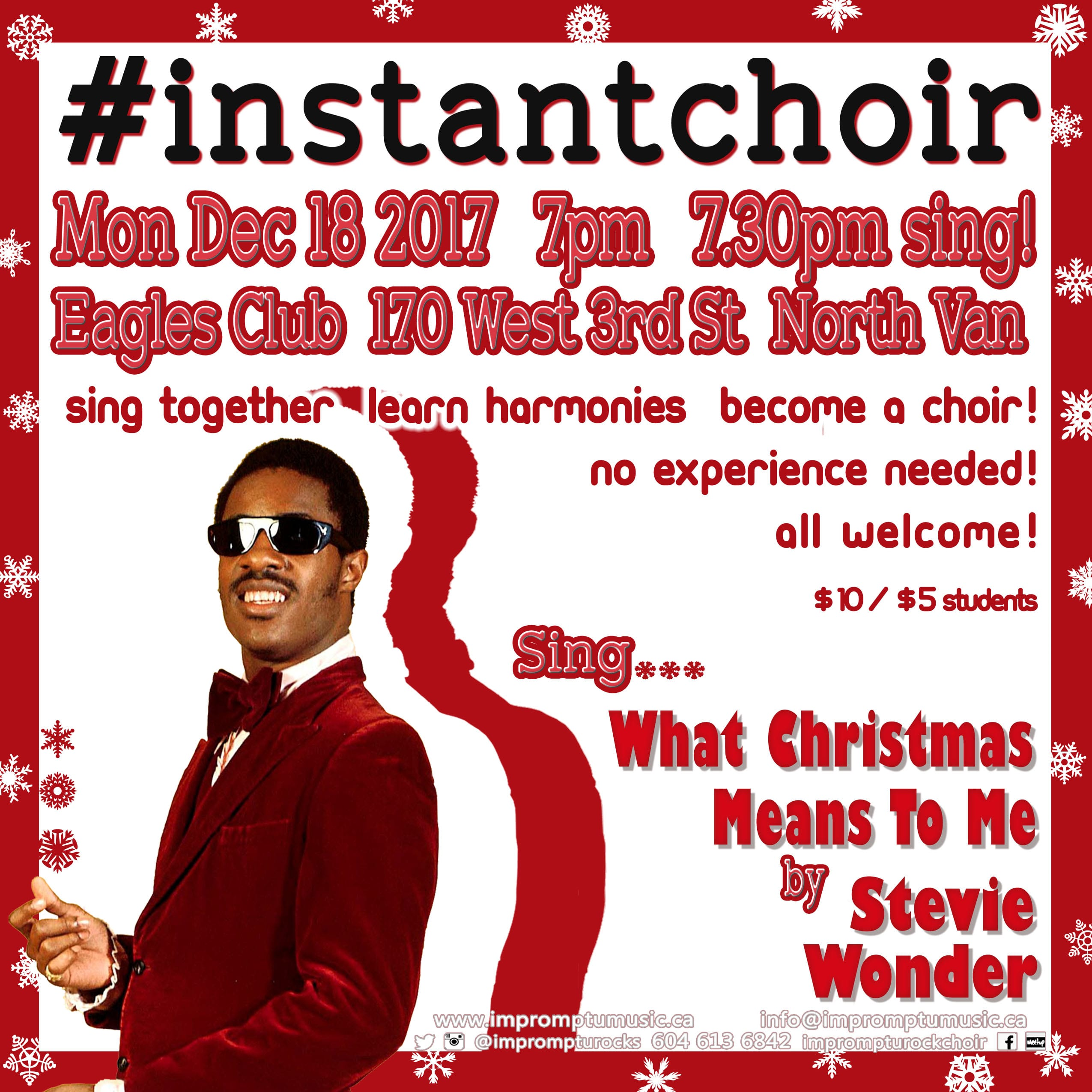 Sing What Christmas Means To Me by Stevie Wonder – #InstantChoir in North Vancouver