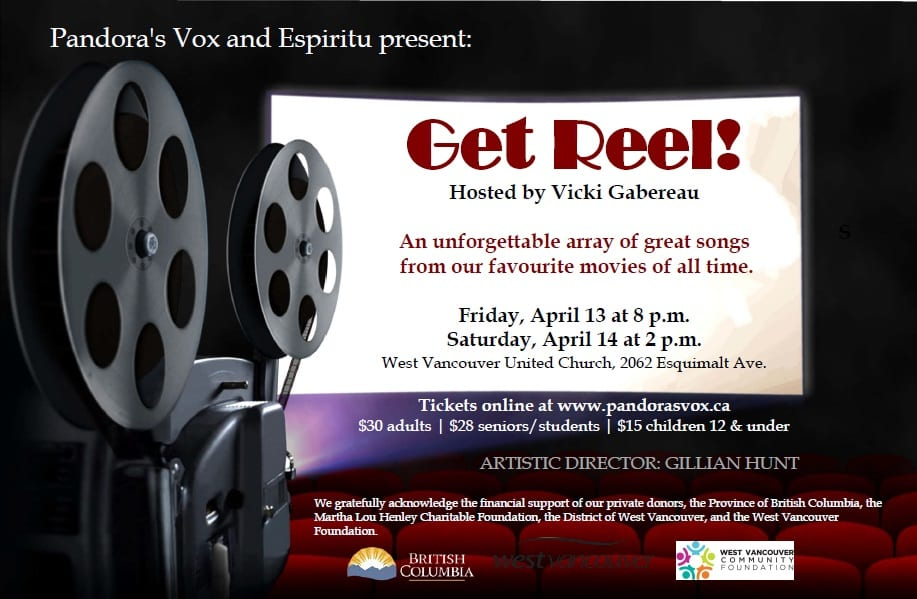 Get Reel! presented by Pandora's Vox & Espiritu Vocal Ensembles at the West Vancouver United Church
