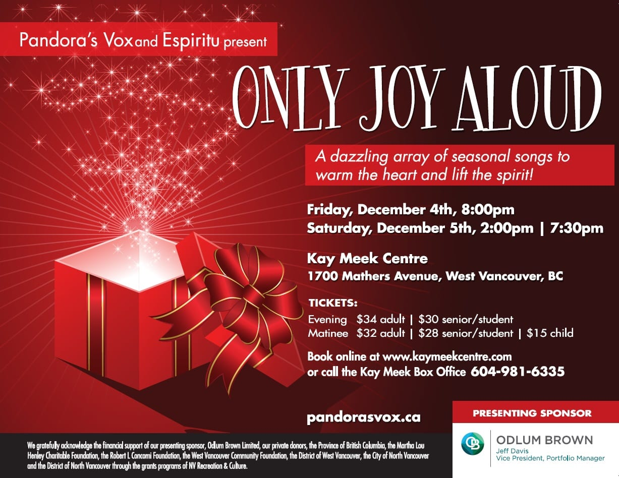 Only Joy Aloud – Christmas Songs at the Kay Meek Centre West Vancouver