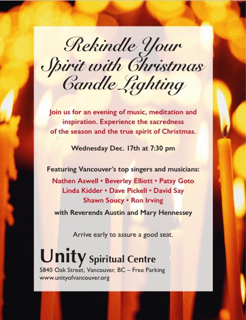 Unity Christmas Candle Lighting at UnitySpiritual Centre Vancouver