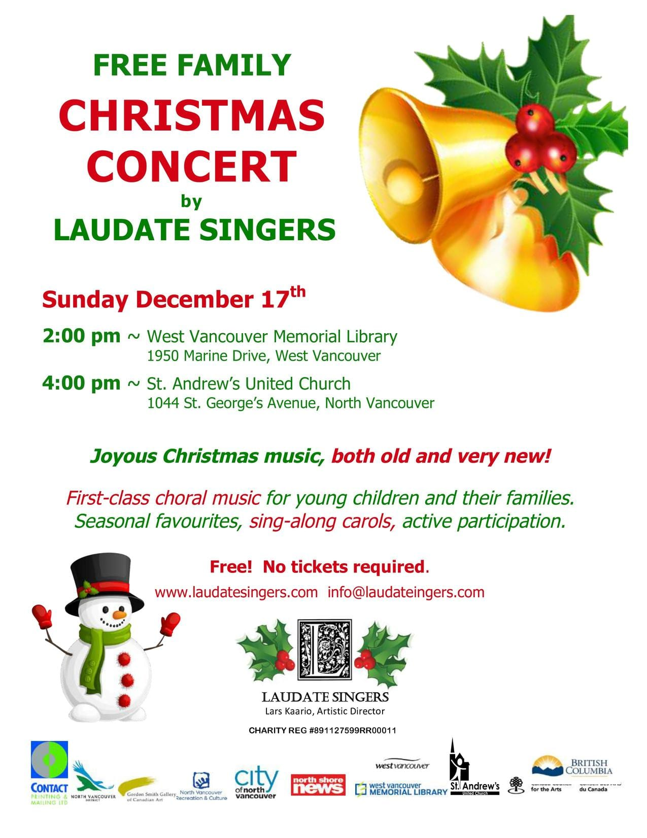 Free Family Christmas Concert at the West Vancouver Memorial Library