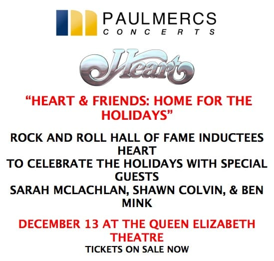 Heart and Friends in Concert Vancouver with Sarah McLachlan