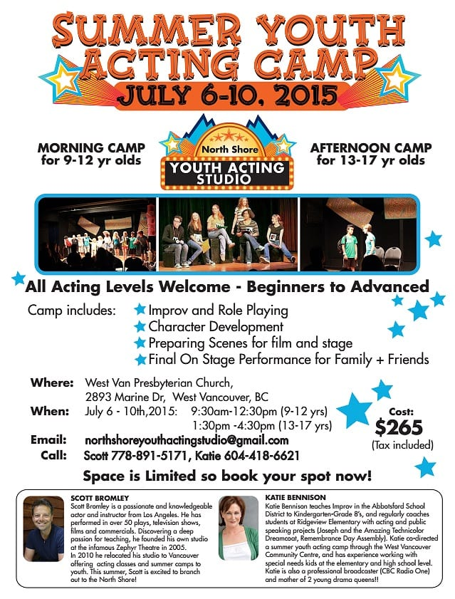 Summer Youth Acting Camp at the West Vancouver Presbyterian Church