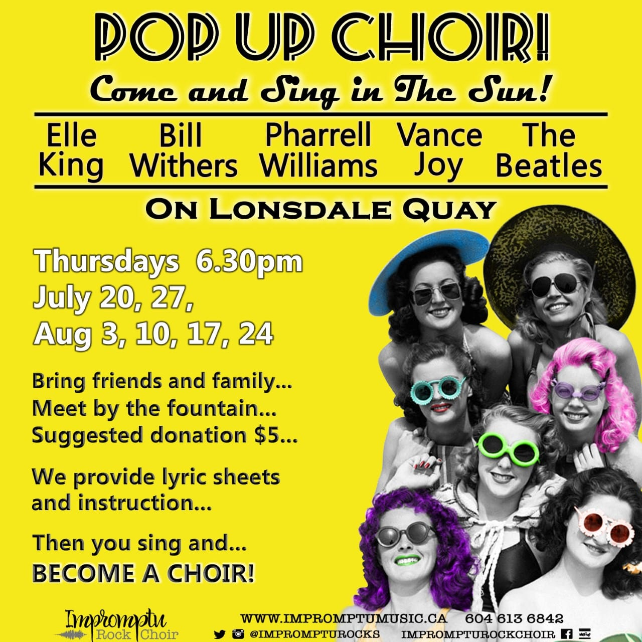 Sing In The Sun On Lonsdale Quay! Beatles! Elle King! Bill Withers! Vance Joy! Simon & Garfunkel!