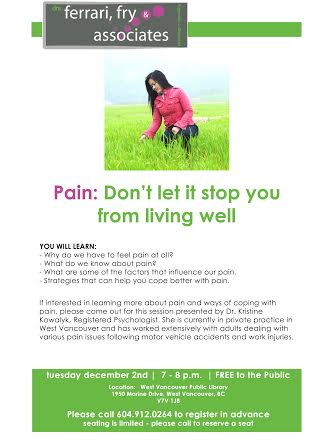Pain: Don't Let It Stop You From Living Well at West Vancouver Memorial Library